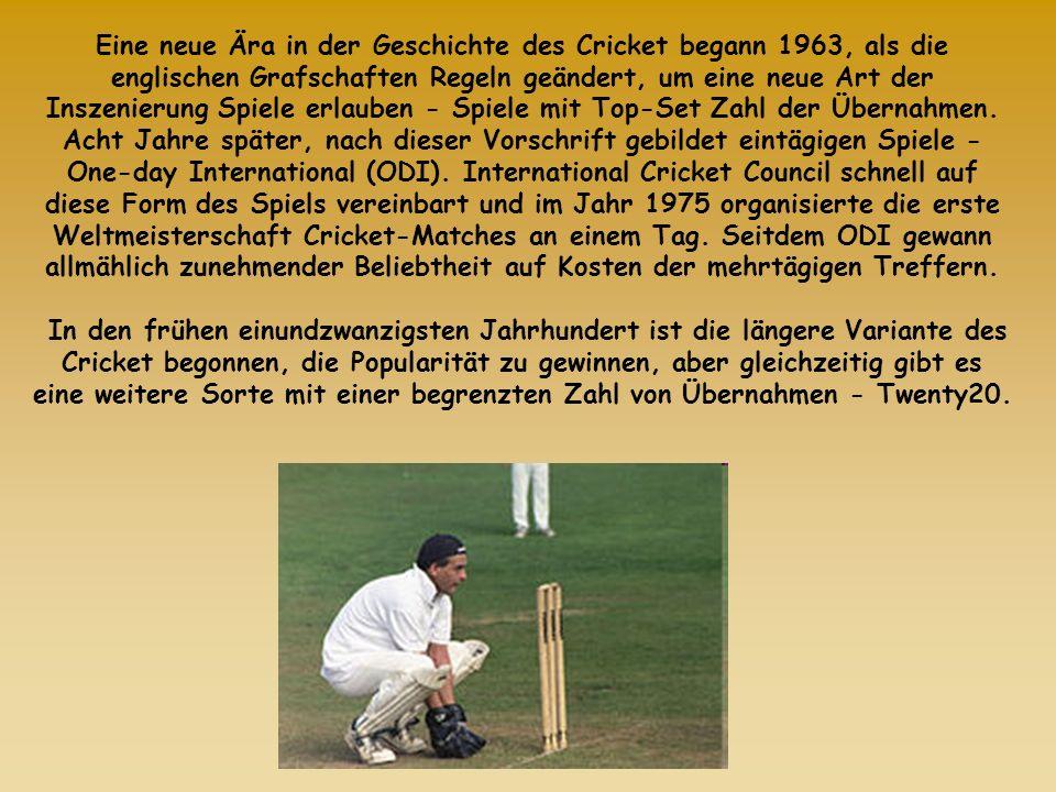 Eine neue Ära in der Geschichte des Cricket begann 1963, als die englischen Grafschaften Regeln geändert, um eine neue Art der Inszenierung Spiele erlauben - Spiele mit Top-Set Zahl der Übernahmen.