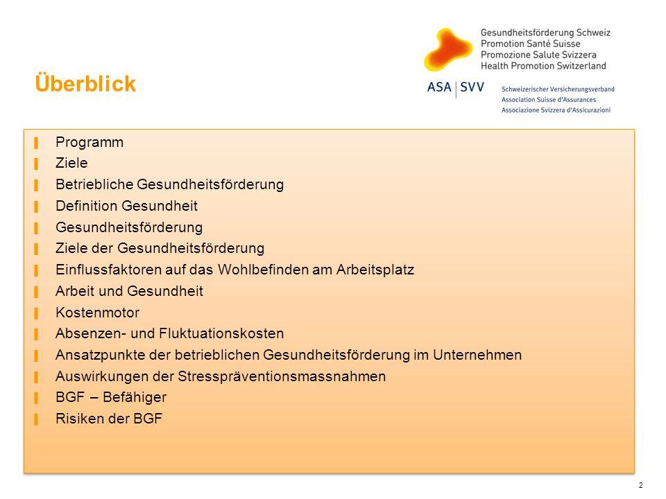 Überblick Programm Ziele Betriebliche Gesundheitsförderung