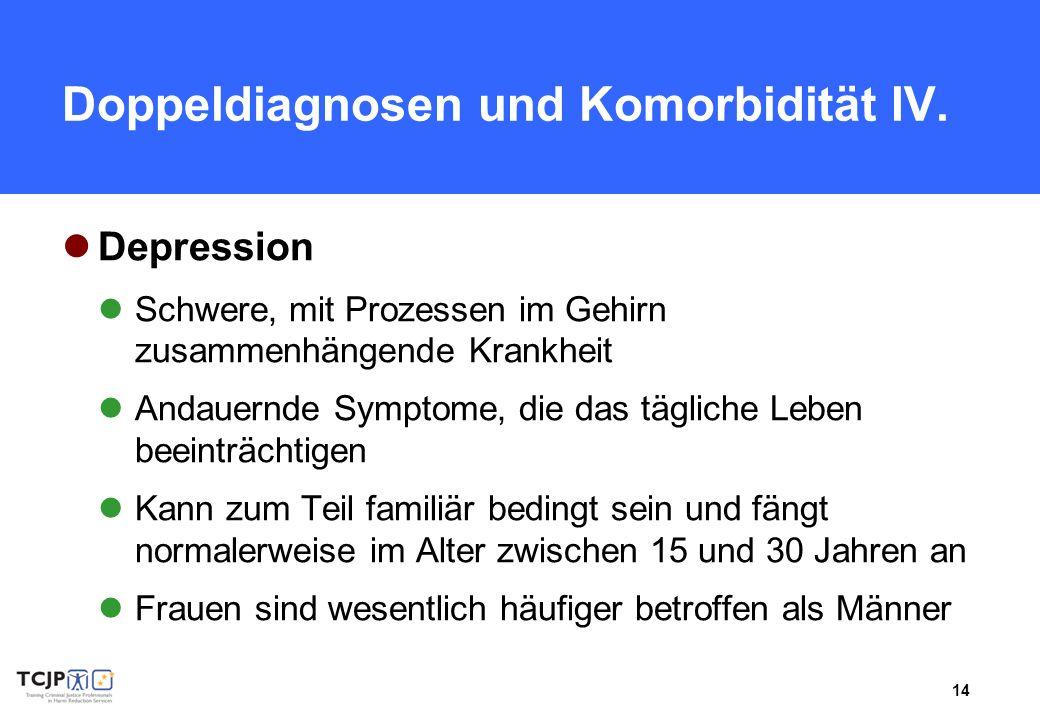 Doppeldiagnosen und Komorbidität IV.