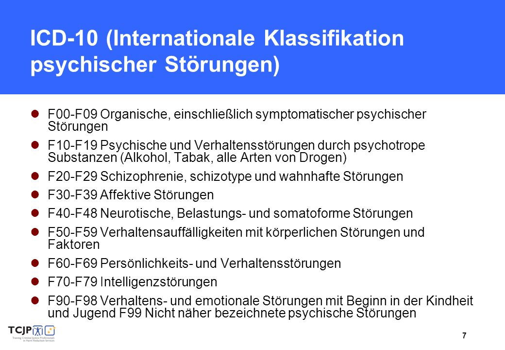ICD-10 (Internationale Klassifikation psychischer Störungen)