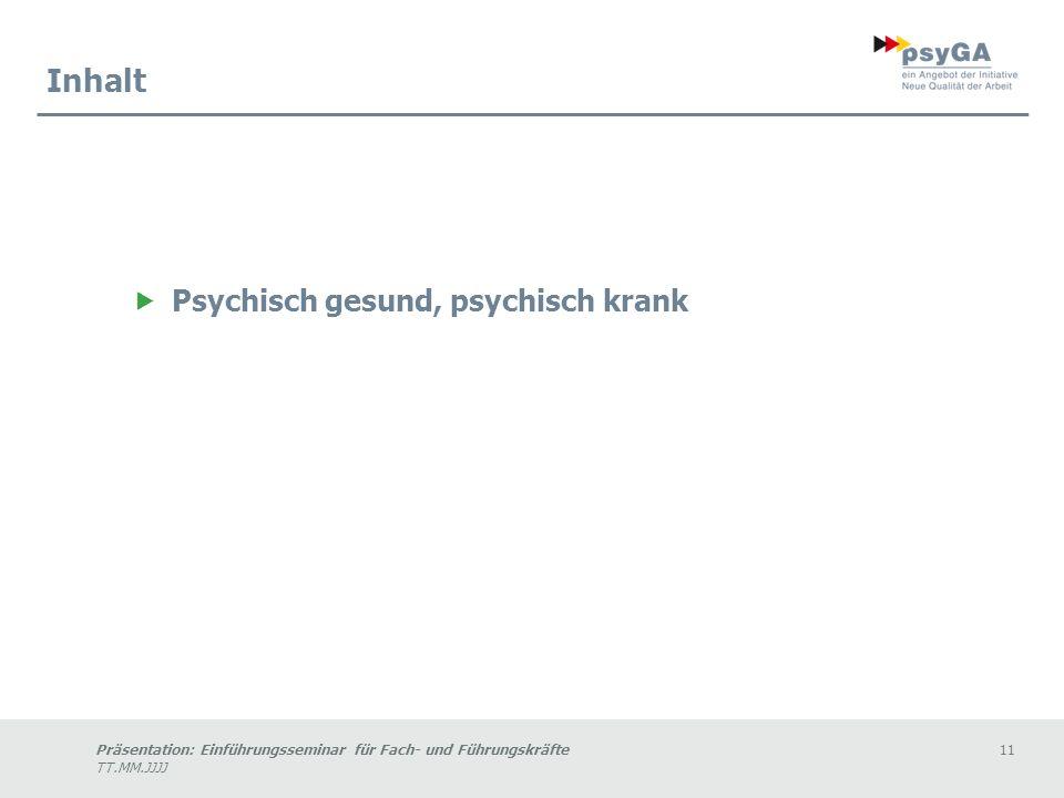 Inhalt Psychisch gesund, psychisch krank