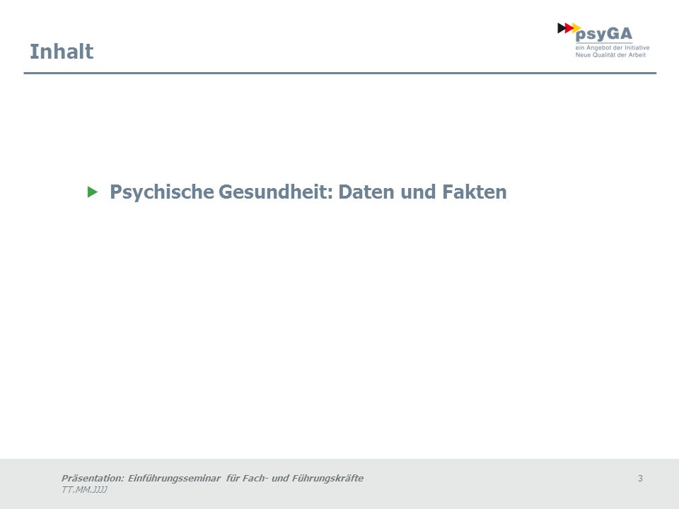 Inhalt Psychische Gesundheit: Daten und Fakten