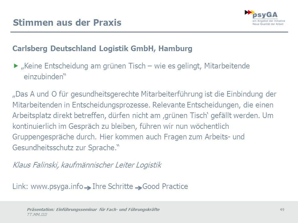Stimmen aus der Praxis Carlsberg Deutschland Logistik GmbH, Hamburg