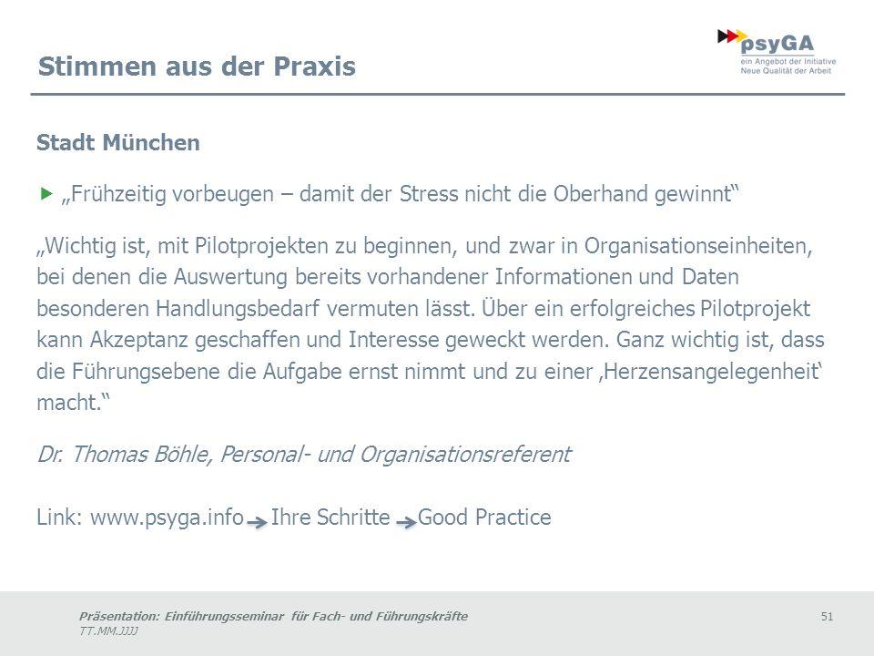 Stimmen aus der Praxis Stadt München
