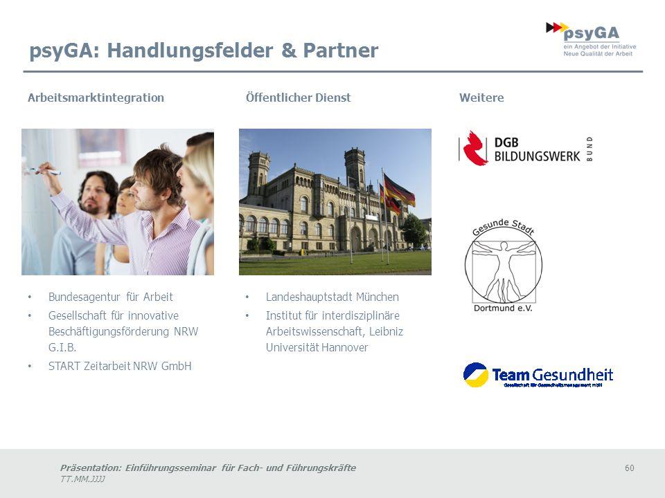 psyGA: Handlungsfelder & Partner