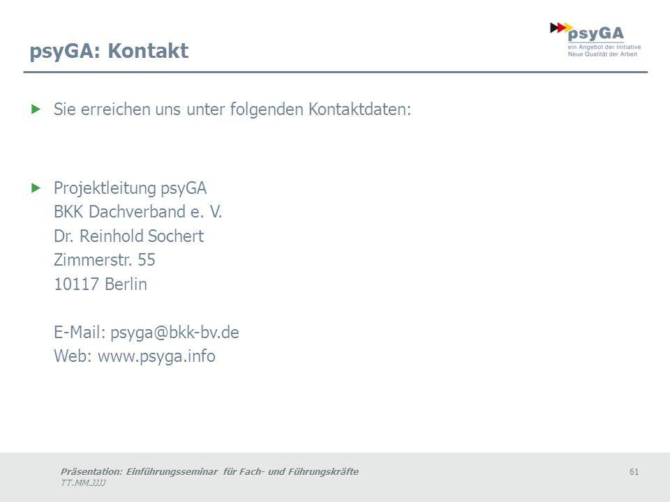 psyGA: Kontakt Sie erreichen uns unter folgenden Kontaktdaten:
