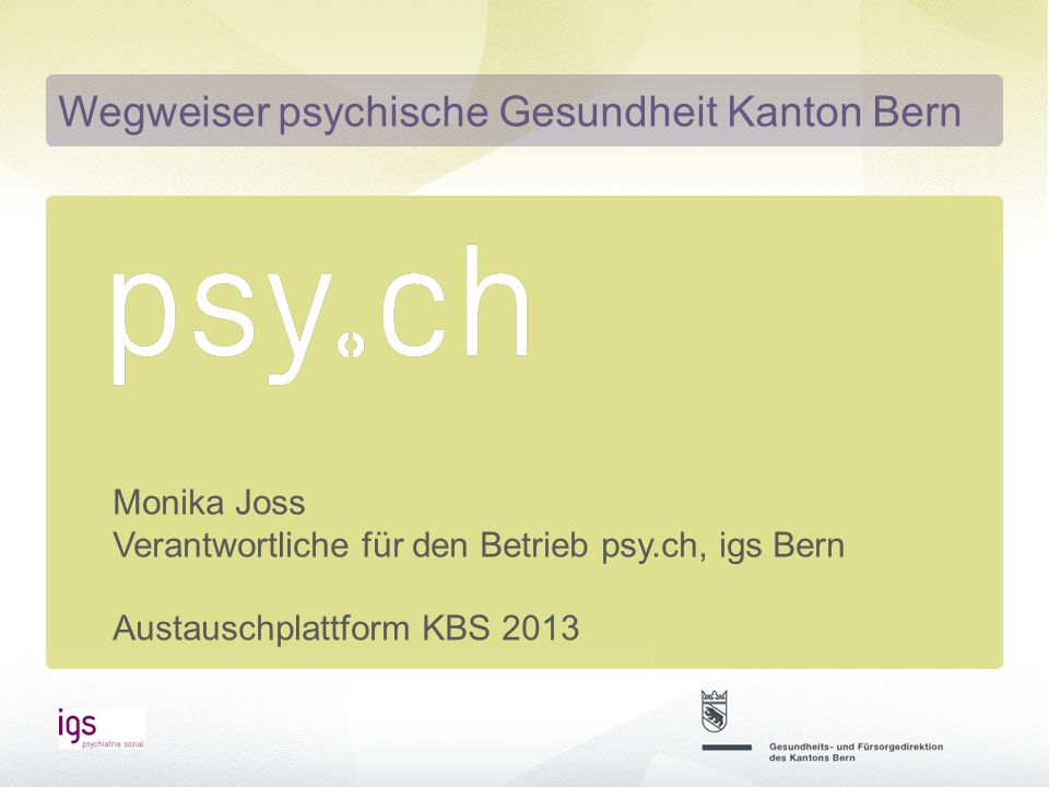 Wegweiser psychische Gesundheit Kanton Bern