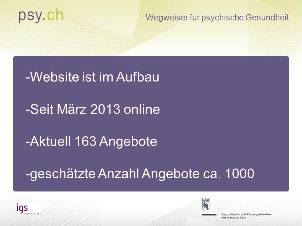 -Website ist im Aufbau -Seit März 2013 online. -Aktuell 163 Angebote.