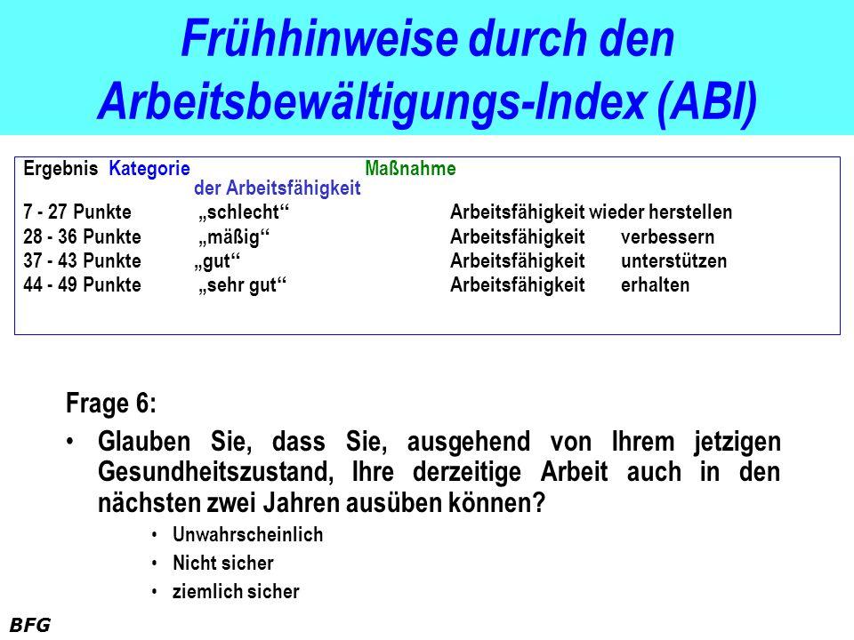 Frühhinweise durch den Arbeitsbewältigungs-Index (ABI)