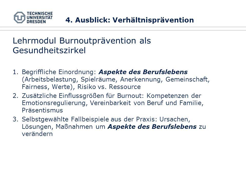 Lehrmodul Burnoutprävention als Gesundheitszirkel
