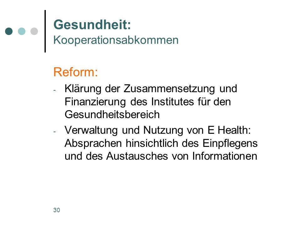 Gesundheit: Kooperationsabkommen