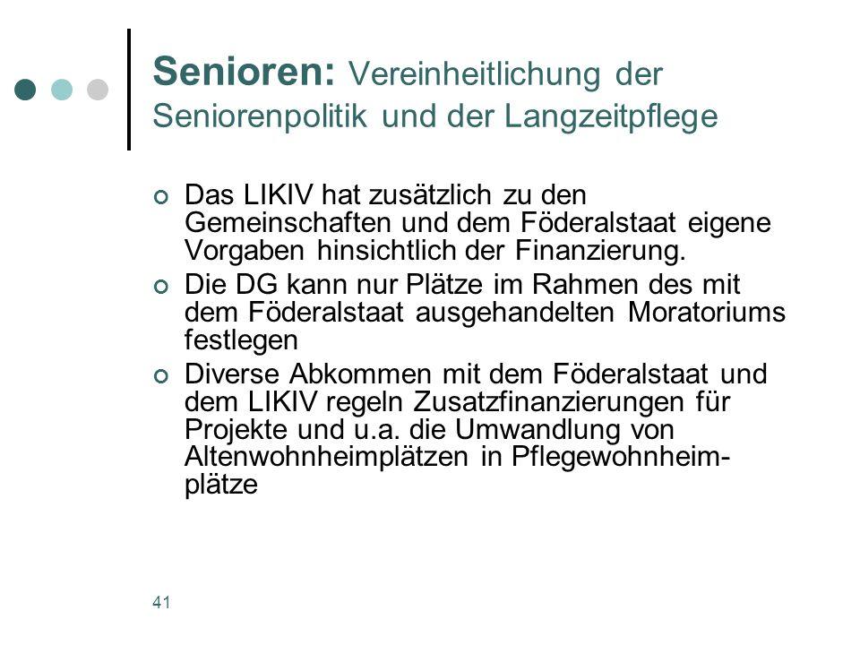 Senioren: Vereinheitlichung der Seniorenpolitik und der Langzeitpflege