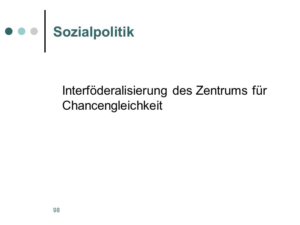 Sozialpolitik Interföderalisierung des Zentrums für Chancengleichkeit