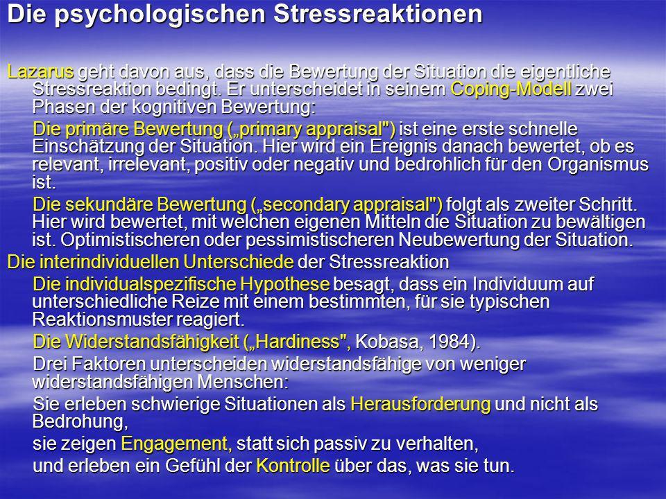 Die psychologischen Stressreaktionen
