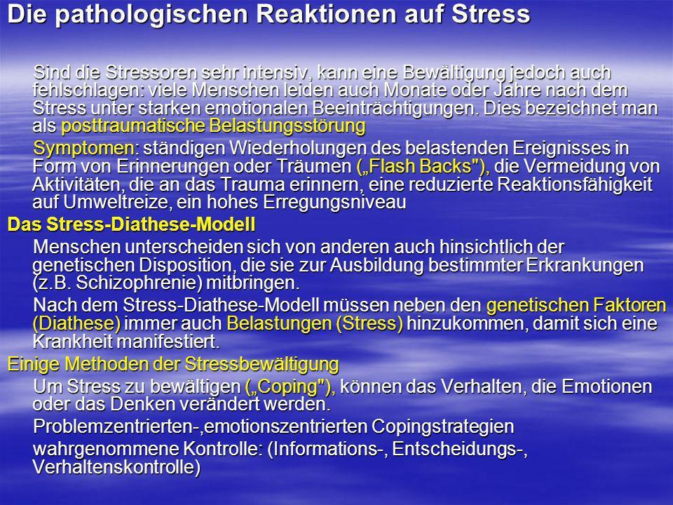 Die pathologischen Reaktionen auf Stress