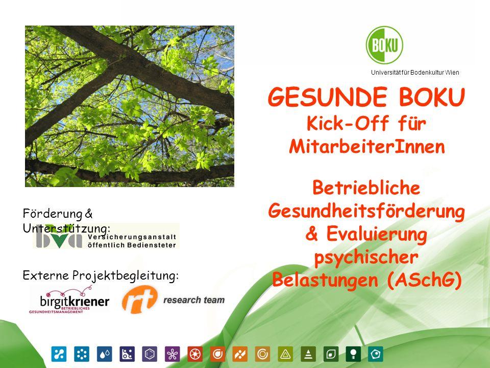 GESUNDE BOKU Kick-Off für MitarbeiterInnen Betriebliche Gesundheitsförderung & Evaluierung psychischer Belastungen (ASchG)