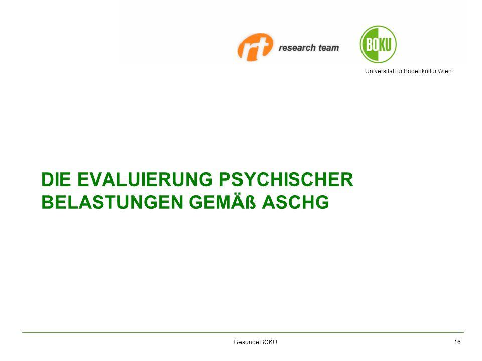Die evaluierung psychischer belastungen gemäß aschG