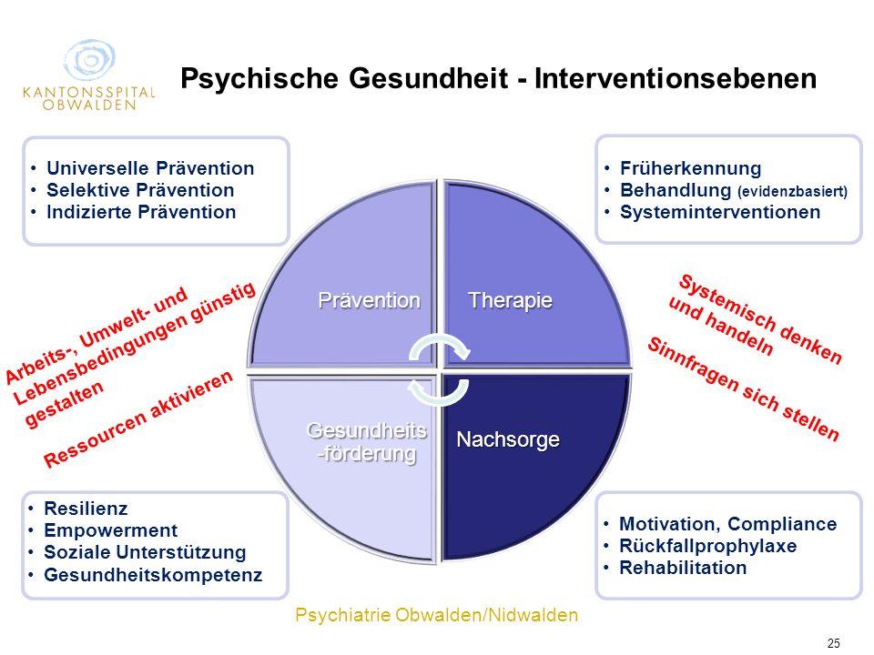 Psychische Gesundheit - Interventionsebenen