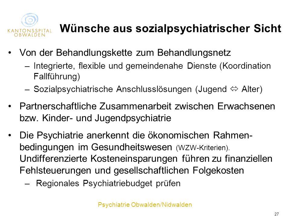Wünsche aus sozialpsychiatrischer Sicht