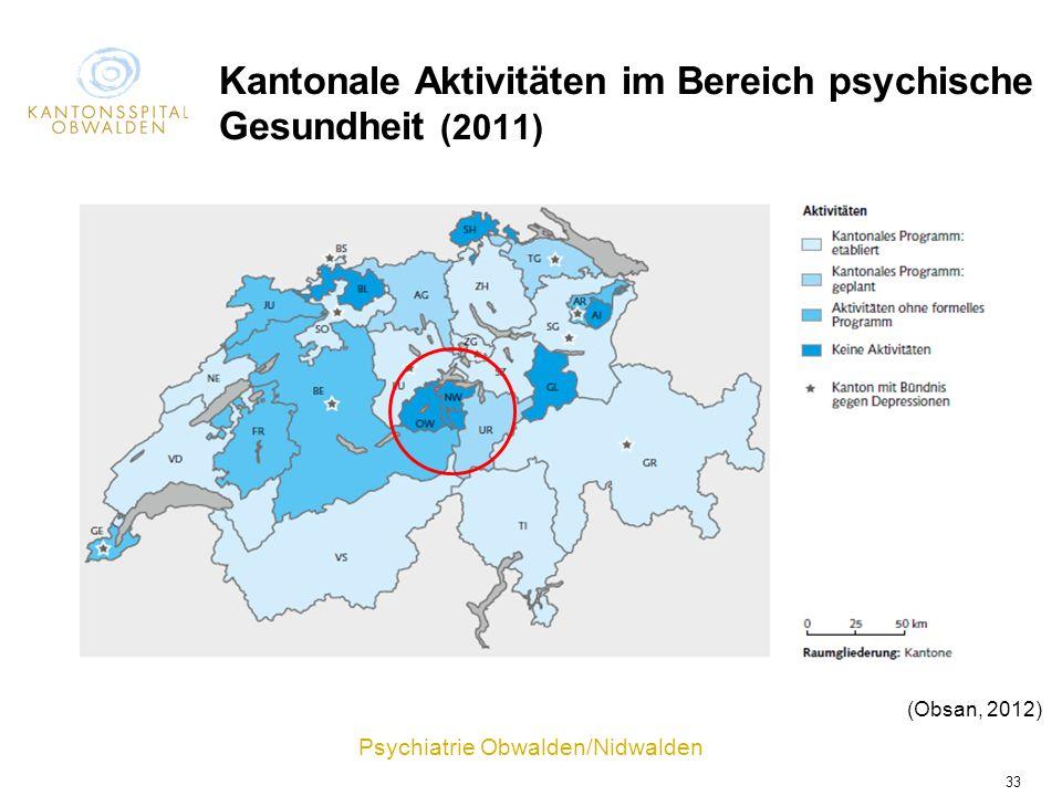 Kantonale Aktivitäten im Bereich psychische Gesundheit (2011)