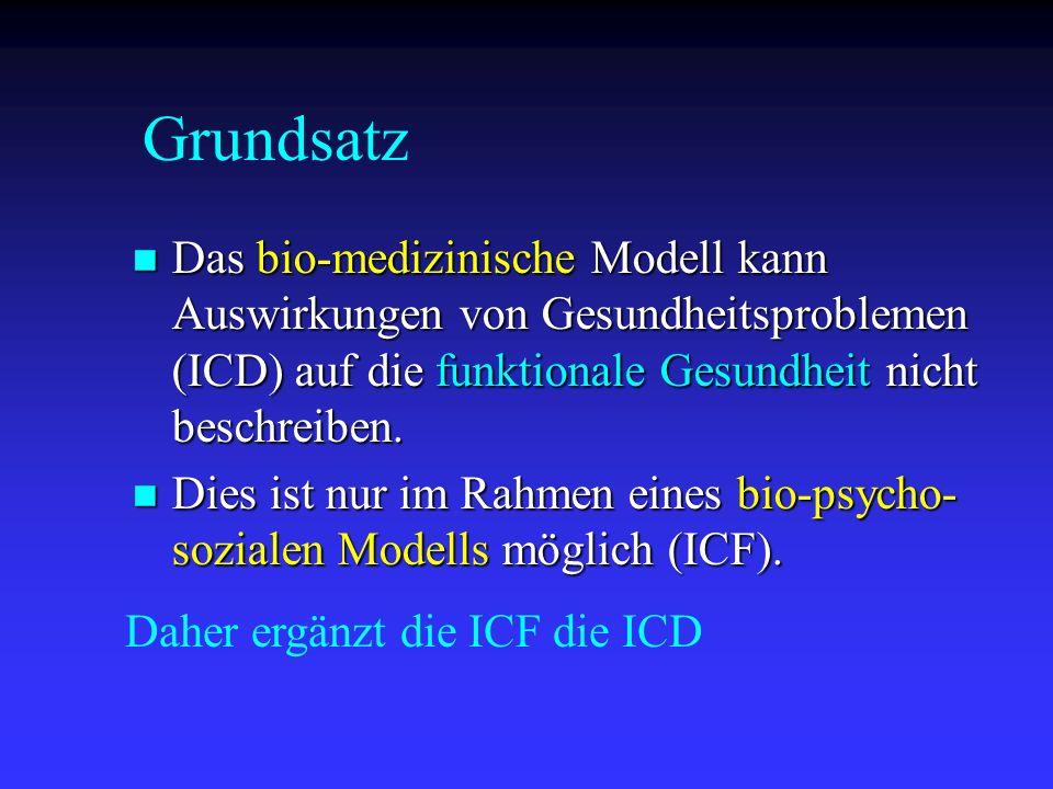 Grundsatz Das bio-medizinische Modell kann Auswirkungen von Gesundheitsproblemen (ICD) auf die funktionale Gesundheit nicht beschreiben.