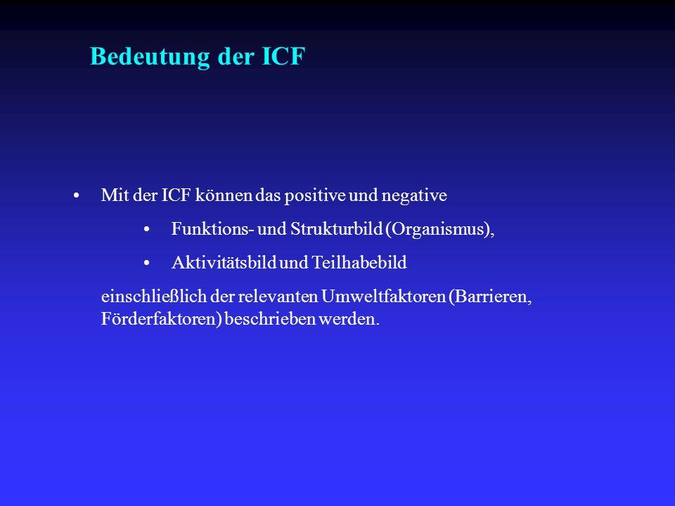 Bedeutung der ICF Mit der ICF können das positive und negative