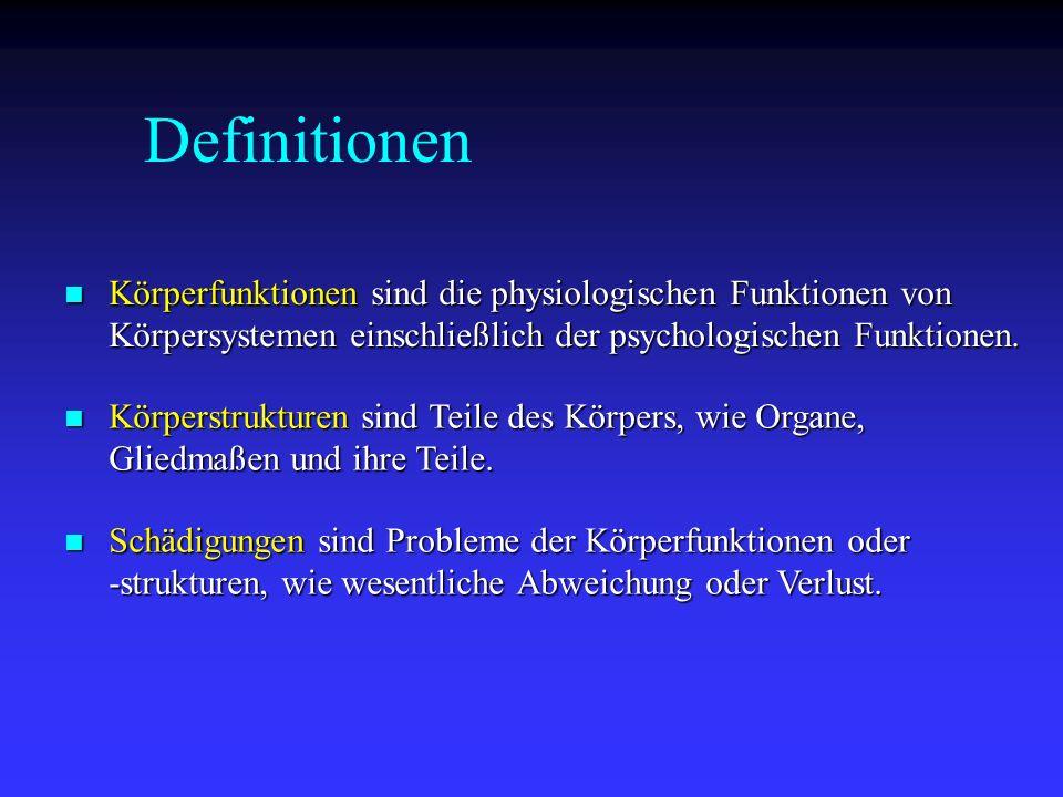 Definitionen Körperfunktionen sind die physiologischen Funktionen von Körpersystemen einschließlich der psychologischen Funktionen.