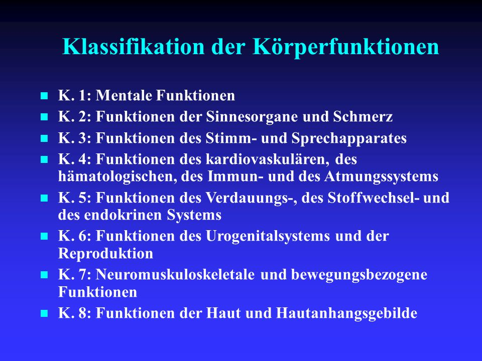 Klassifikation der Körperfunktionen
