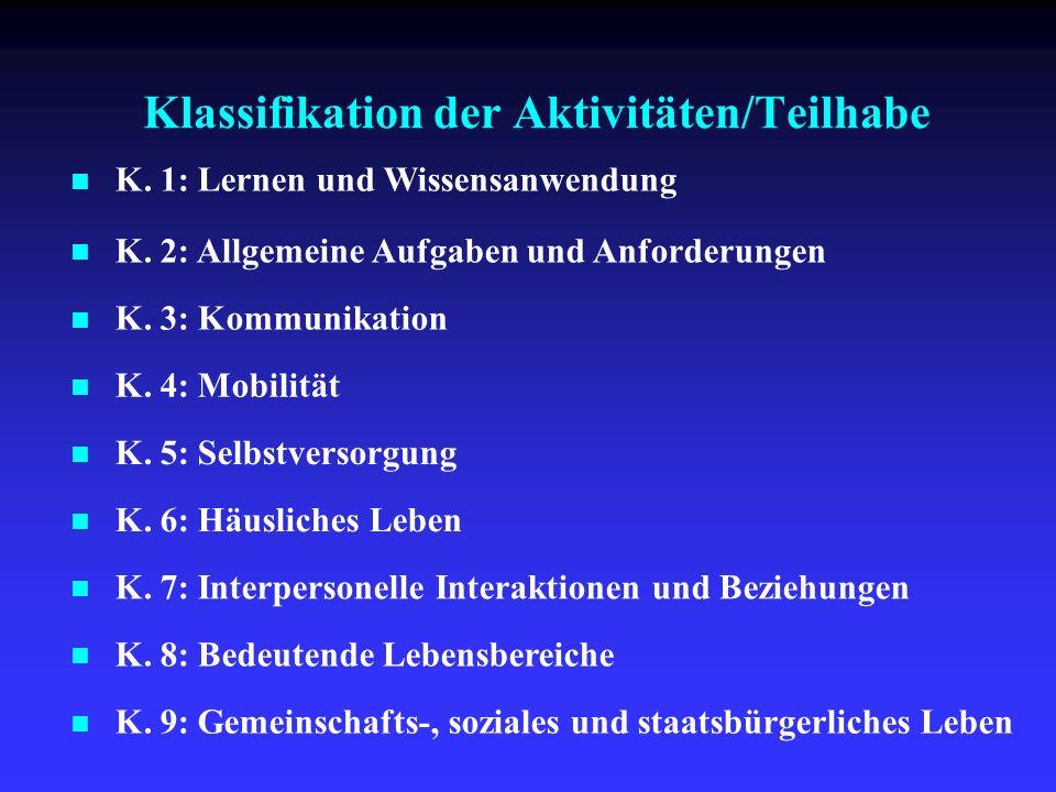 Klassifikation der Aktivitäten/Teilhabe