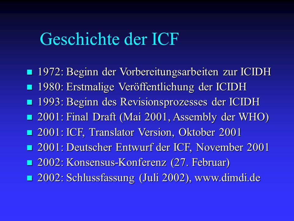 Geschichte der ICF 1972: Beginn der Vorbereitungsarbeiten zur ICIDH