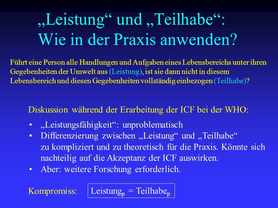 """""""Leistung und """"Teilhabe : Wie in der Praxis anwenden"""