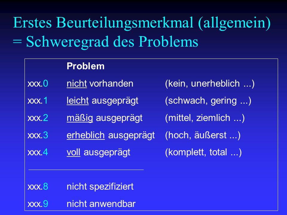 Erstes Beurteilungsmerkmal (allgemein) = Schweregrad des Problems
