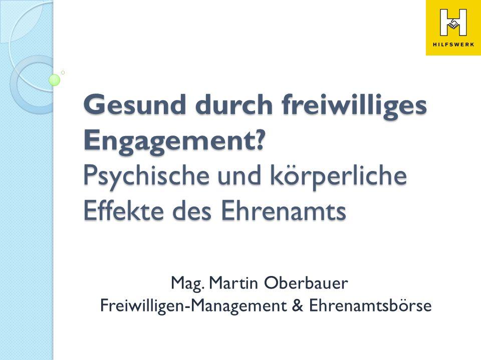 Mag. Martin Oberbauer Freiwilligen-Management & Ehrenamtsbörse