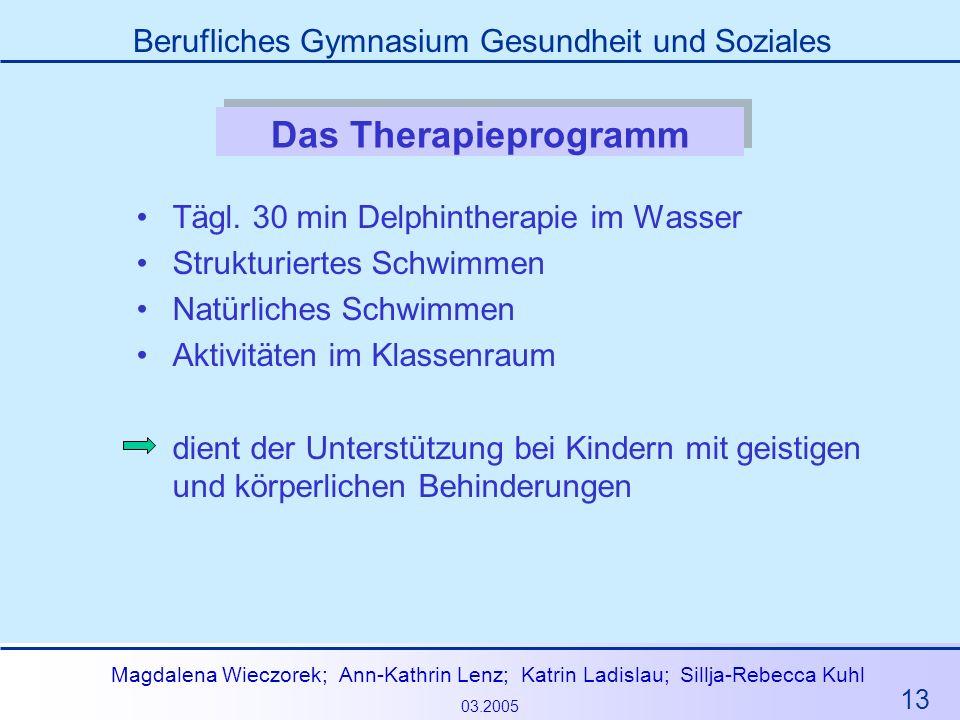 Das Therapieprogramm Tägl. 30 min Delphintherapie im Wasser