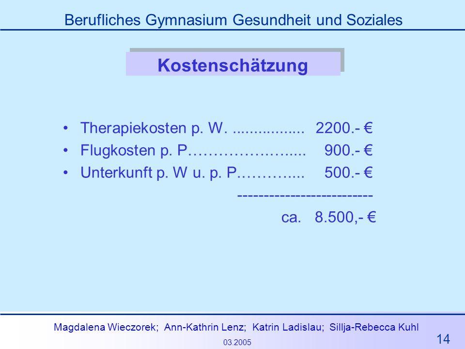 Kostenschätzung Therapiekosten p. W. ................. 2200.- €