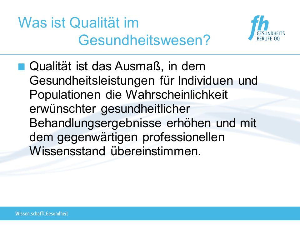 Was ist Qualität im Gesundheitswesen