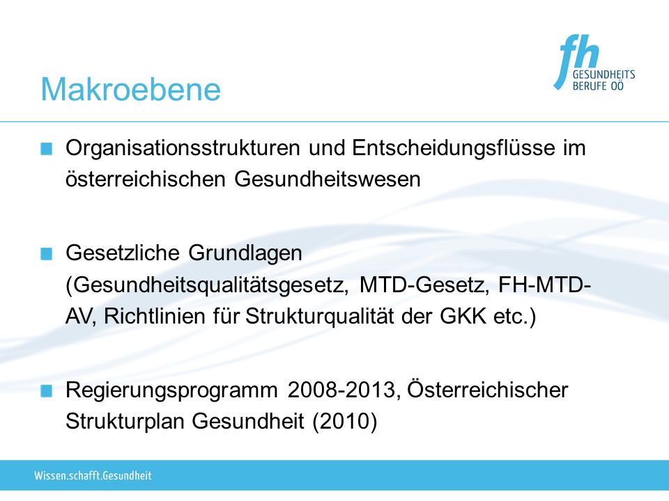 Makroebene Organisationsstrukturen und Entscheidungsflüsse im österreichischen Gesundheitswesen.