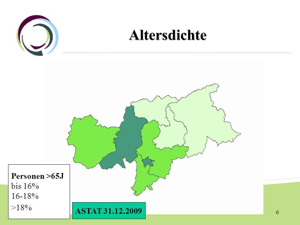 Altersdichte Personen >65J bis 16% 16-18% >18% ASTAT 31.12.2009
