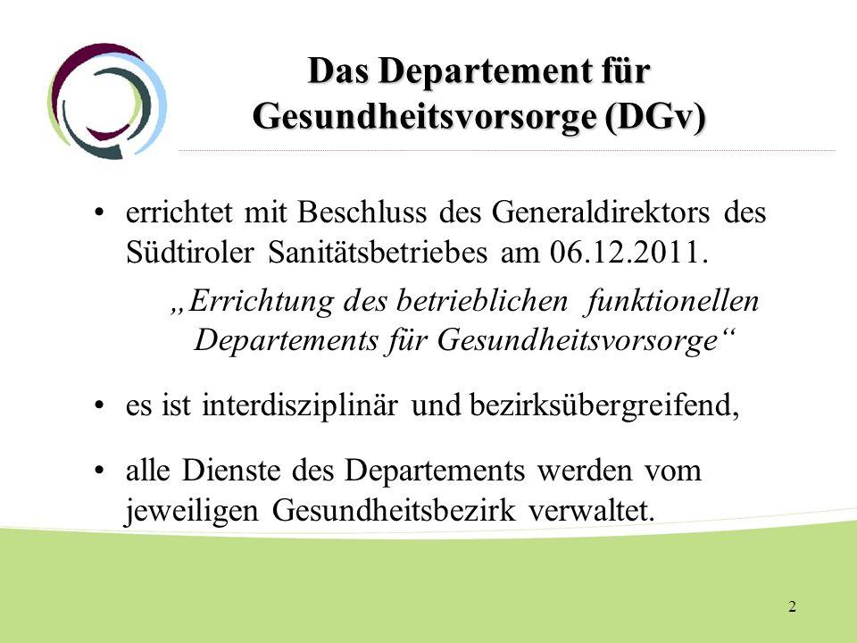 Das Departement für Gesundheitsvorsorge (DGv)