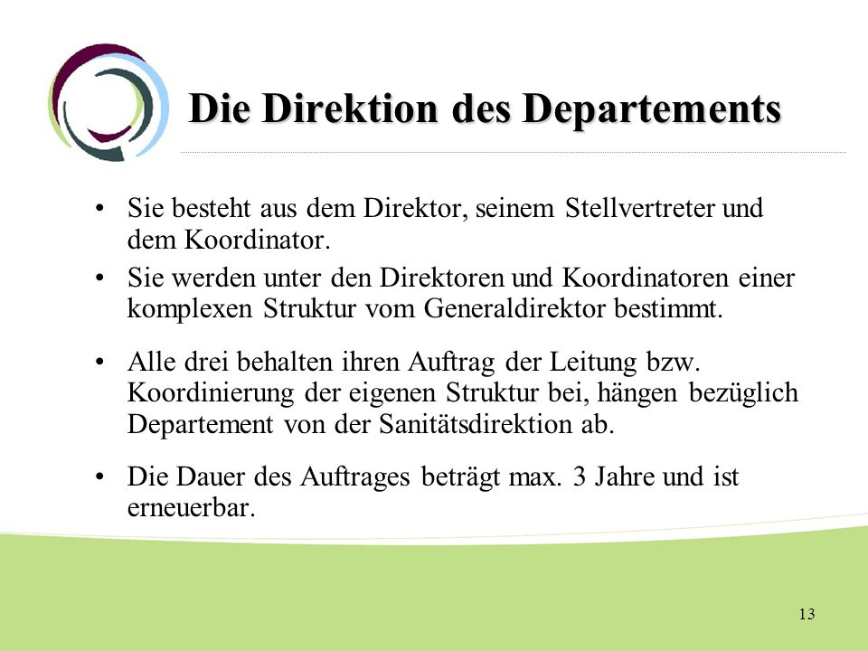 Die Direktion des Departements