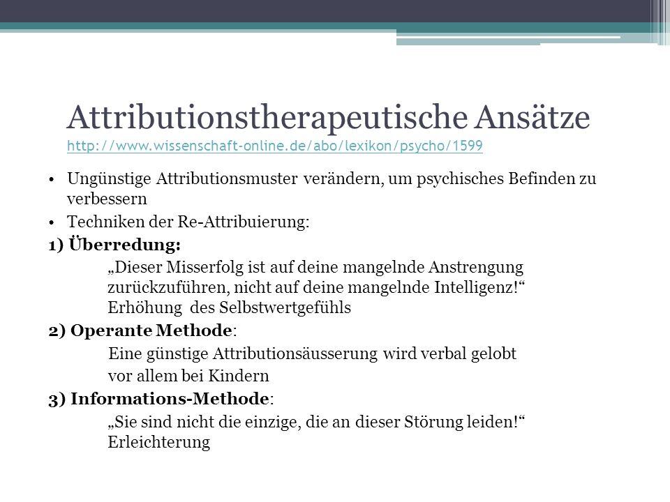 Attributionstherapeutische Ansätze http://www. wissenschaft-online