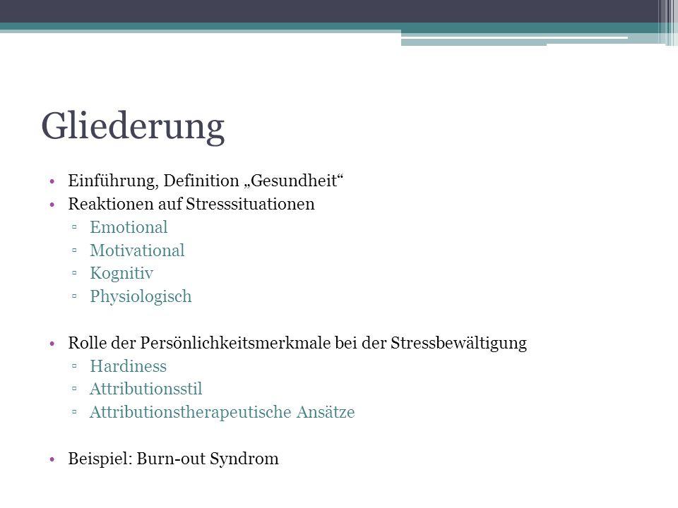 """Gliederung Einführung, Definition """"Gesundheit"""