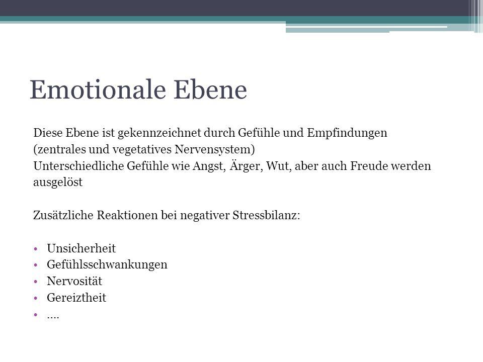 Emotionale Ebene Diese Ebene ist gekennzeichnet durch Gefühle und Empfindungen. (zentrales und vegetatives Nervensystem)