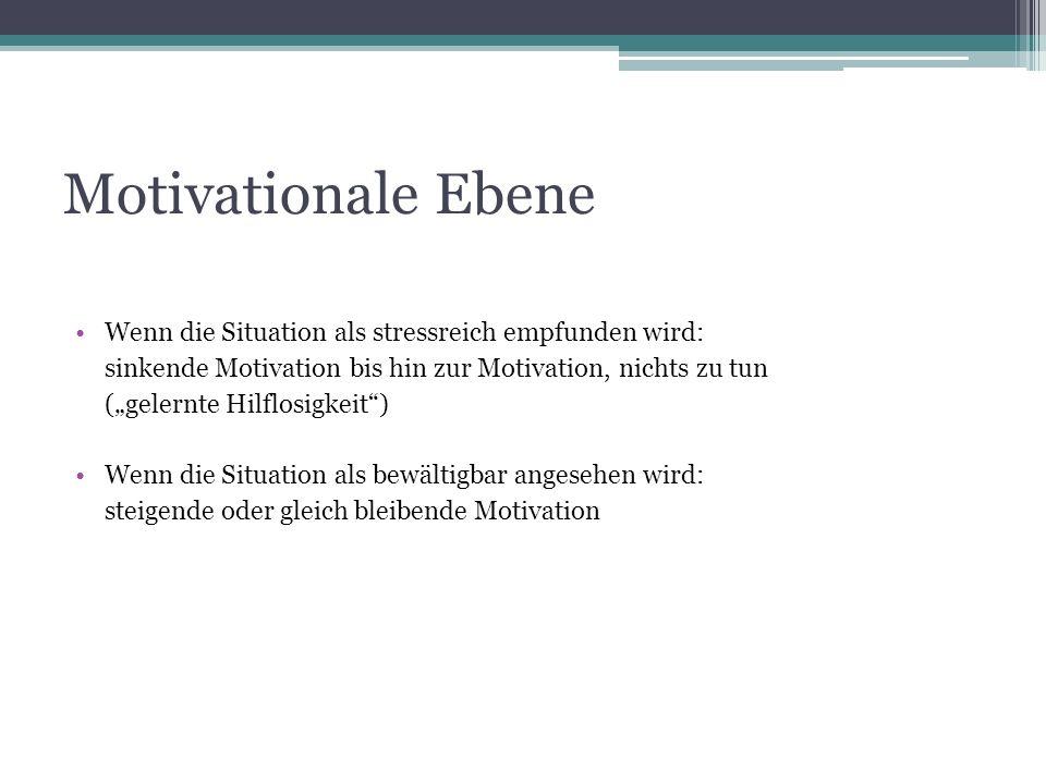 Motivationale Ebene Wenn die Situation als stressreich empfunden wird: