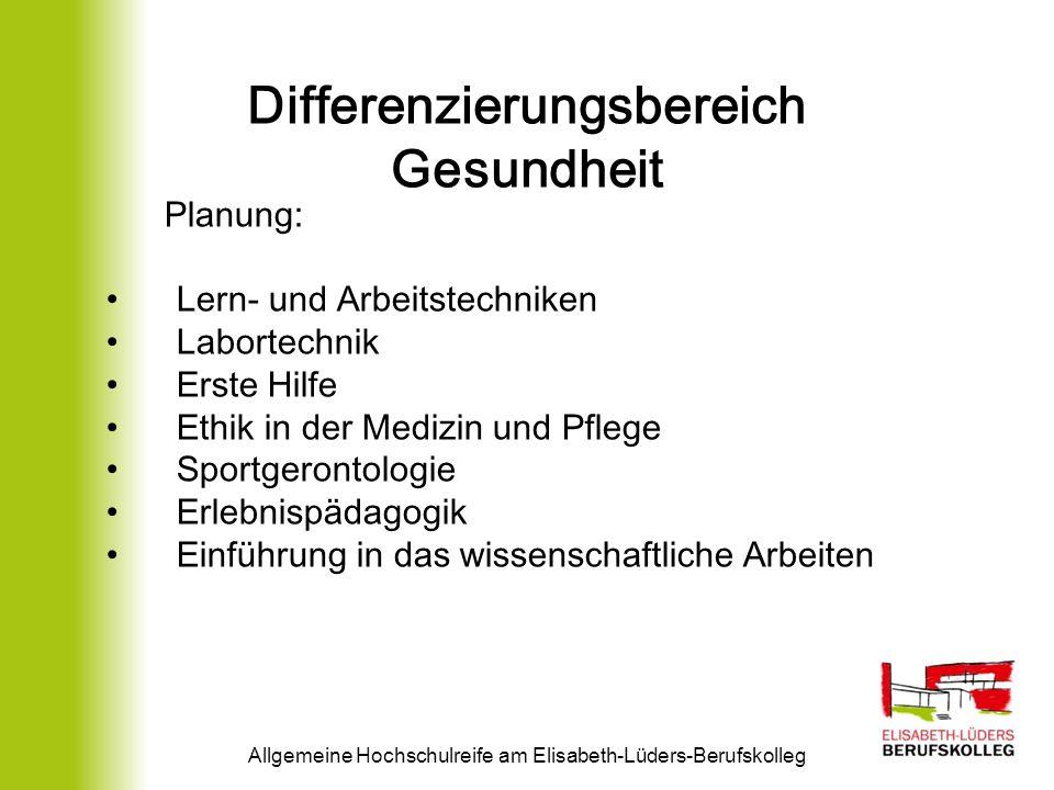 Differenzierungsbereich Gesundheit