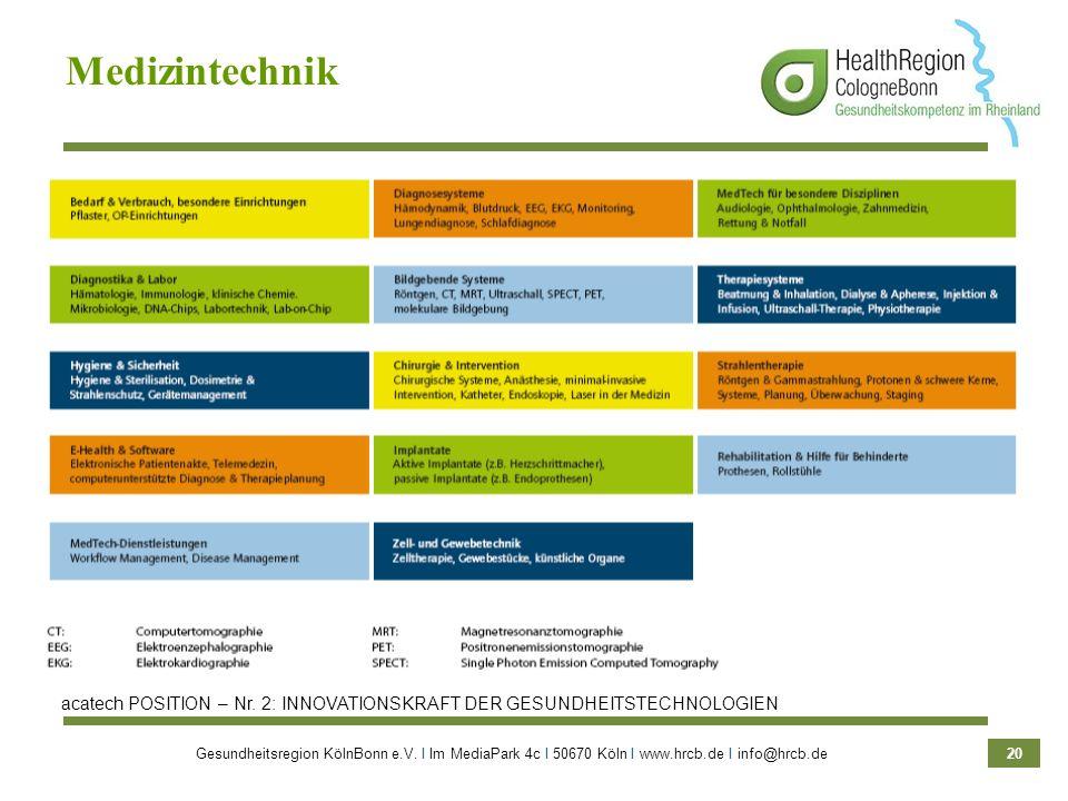 Medizintechnik acatech POSITION – Nr. 2: INNOVATIONSKRAFT DER GESUNDHEITSTECHNOLOGIEN