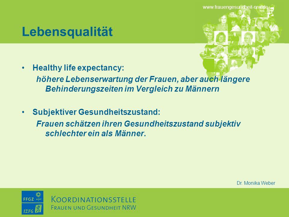 Lebensqualität Healthy life expectancy: