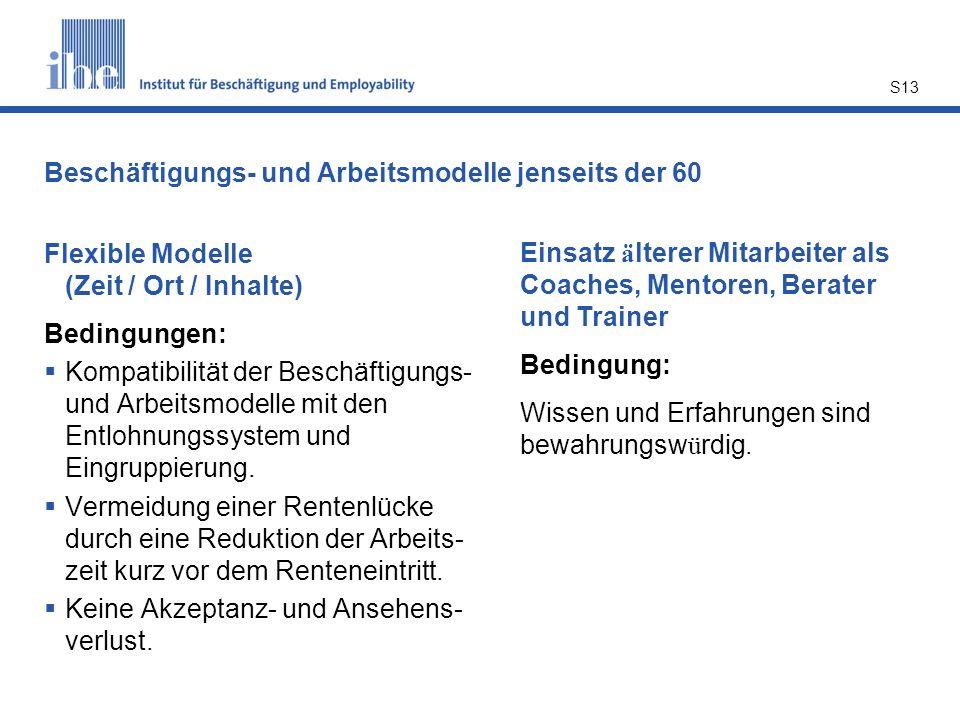 Beschäftigungs- und Arbeitsmodelle jenseits der 60