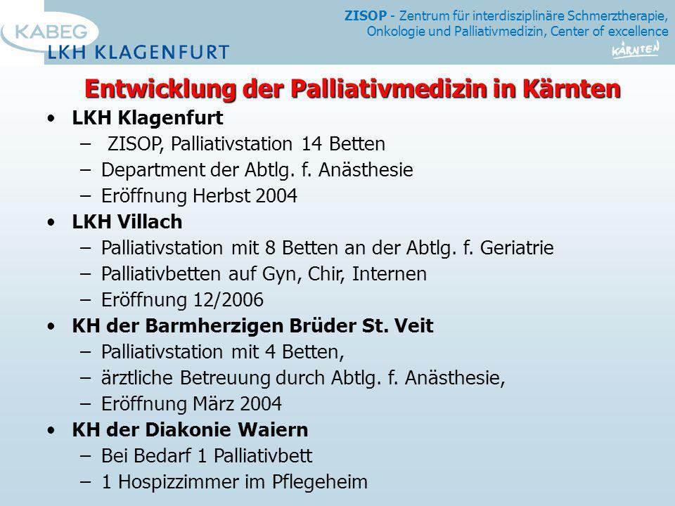 Entwicklung der Palliativmedizin in Kärnten