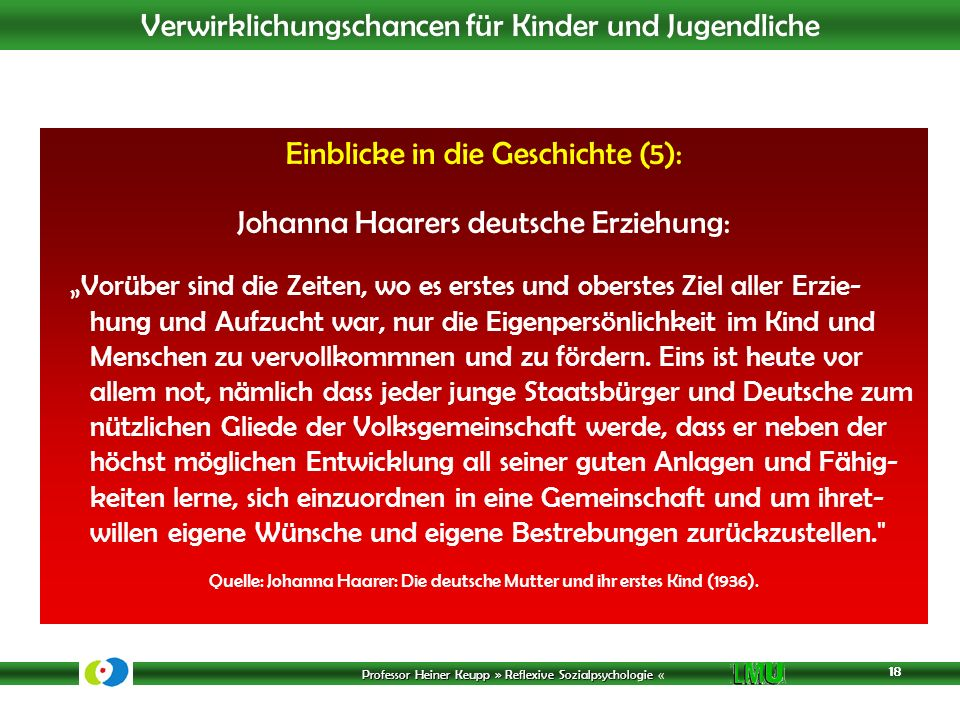 Einblicke in die Geschichte (5): Johanna Haarers deutsche Erziehung: